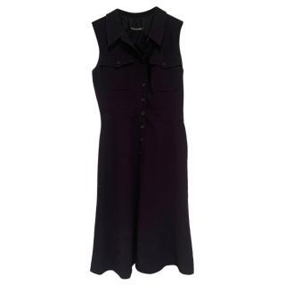 Chanel Black VIntage Wool Blend Button-Down Dress