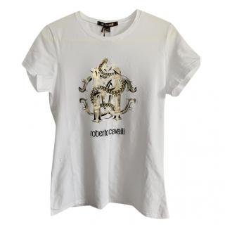 Roberto Cavalli Metallic Logo Print T-Shirt