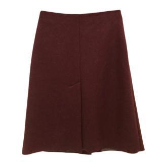 Maison Margiela Burgundy A-Line Wool & Alpaca Blend Skirt