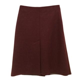 Maison Margiela Burgundy A-Line Wool & Alpaca Blend Skirt