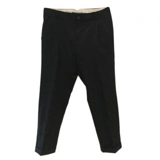 Scotch & Soda Black Drop Crotch Cropped Pants