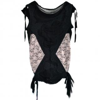 Cigana Black & Nude Lace Panelled Top