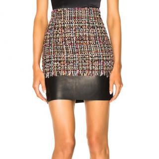 Alexander McQueen Tweed & Leather Mini Skirt