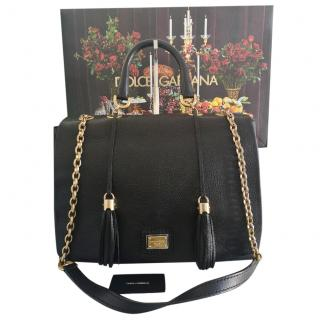 Dolce & Gabbana Miss Charlotte Black Leather Shoulder Bag