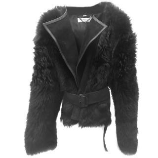 Burberry Black Lambskin Belted Jacket