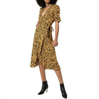 GANNI Goldstone floral print crepe wrap dress