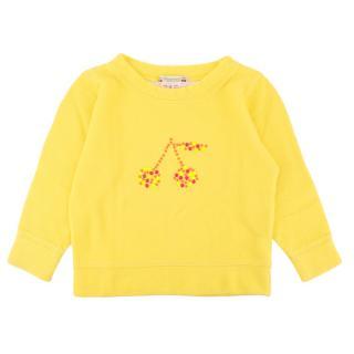 Bonpoint Yellow Beaded Cherry Sweatshirt