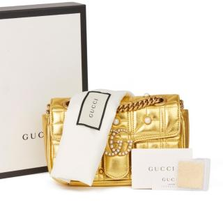 Gucci Pearl Embellished Gold Mini Marmont