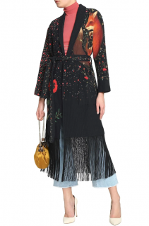 Vilshenko Black Fringed Embellished Printed Shell Coat