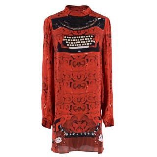 Mary Katranzou Red Silk Typewriter Print Dress