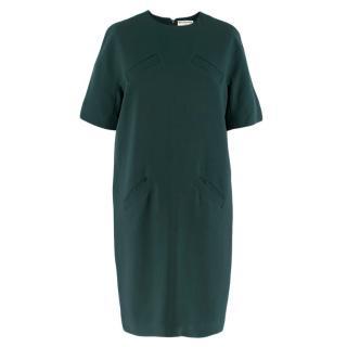 Balenciaga Green Oversized Shift Dress w/ Pockets
