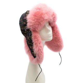 Ludmila Cherkasova Floral Embroidered Trapper Hat with Pink Fur