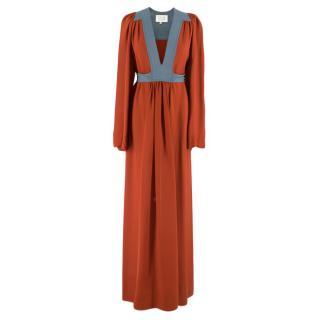 Ossie Clark Colour Block Silk Maxi Dress