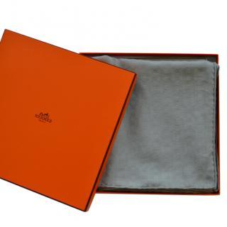 Hermes Grey Cashmere & Silk Scarf