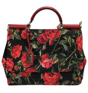 Dolce & Gabbana Rose Print Large Miss Sicily Bag