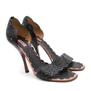 Alaia Black Leather Lasercut Stiletto Pumps