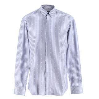 Alexander McQueen Skull Stripe Blue Shirt