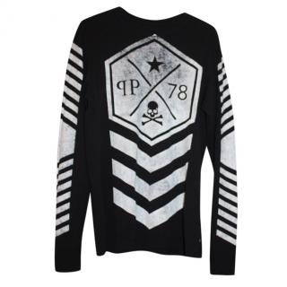 Philipp Plein Black Printed Long Sleeve Top