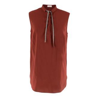 Brunello Cucinelli Brick Red Silk Embellished Top