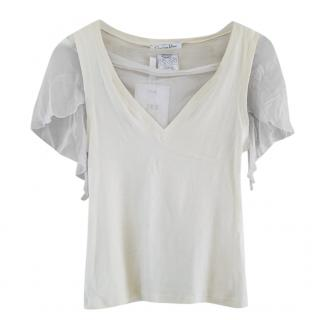 Dior Cream Silk Blend Top With Sheer Sleeves