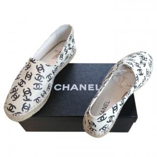 Chanel White Lambskin CC Printed Espadrilles