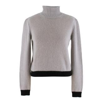 Marni Grey & Black Cashmere Roll Neck Jumper