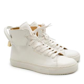 Buscemi 100MM White Leather High-top Sneakers