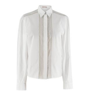 Alaia White Poplin Lace Panelled Shirt