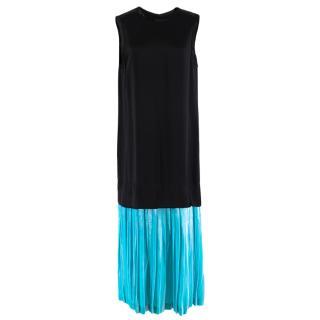 Toga Pulla Midi Shift Dress With Velvet Contrast Hem