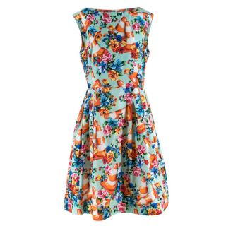 Moschino Couture Floral Traffic Cone Dress in Multicolour