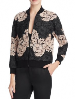 Alice + Olivia Felisa Floral Guipure Lace Bomber