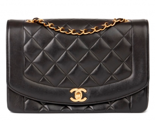 Chanel Vintage Black Leather Diana Flap Bag