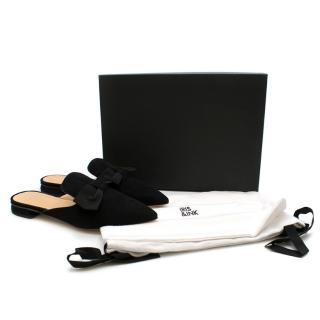 Iris & Ink Black Suede Mules w/ Bow