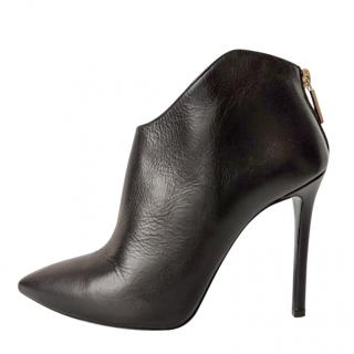 Pollini Black Leather Low Ankle Boots