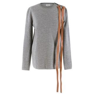 Loewe Grey Knitted Jumper w/ Leather Straps