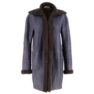 Balenciaga Shearling Lined Blue Leather Coat