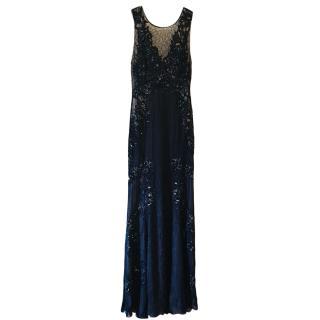 Roberto Cavalli Blue Silk Chiffon Beaded Gown