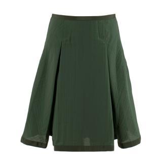 Sacai Luck Green Flared Pleated Skirt