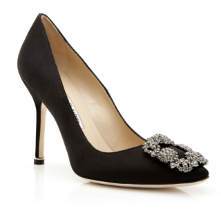 Manolo Blahnik Black Satin Hangisi 105 Pumps