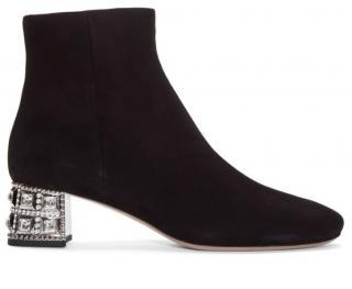 Miu Miu Crystal Embellished Black Suede Ankle Boots