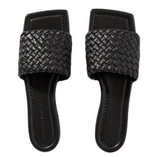 Bottega Veneta Black Intrecciato Leather Square Toe Slides