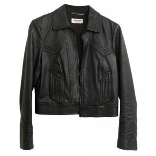 Saint Laurent Black Leather Jacket with Topstitch Detail