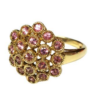 Bespoke Yellow Gold Pink Sapphire Bubble Ring