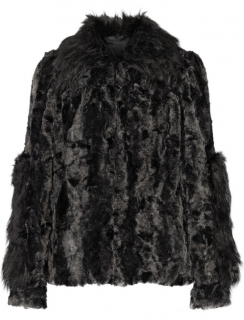 Anna Sui Black Faux Fur Coat