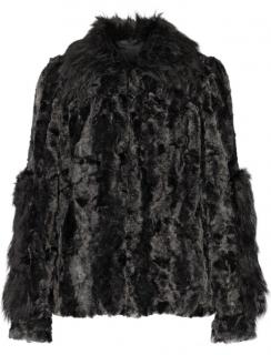 Anna Sui Black Faux Fur Coat