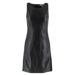 J Brand Black Leather Panelled Mini Dress