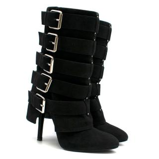 Giuseppe Zanotti x Balmain Black Suede Multi Buckle Boots