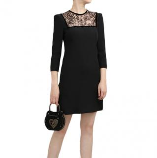 Alexander McQueen black dress w/ square lace neckline
