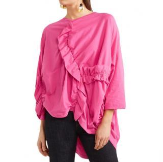 Marni Pink Ruched cotton-jersey T-shirt