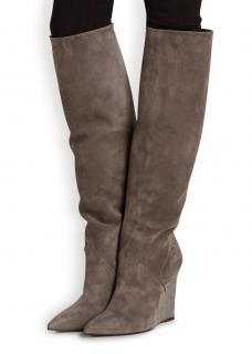 Saint Laurent Grey Suede Wedge Knee Boots
